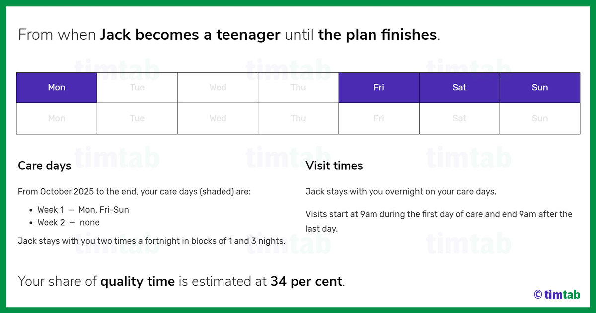 70/30 custody schedule for a teenager
