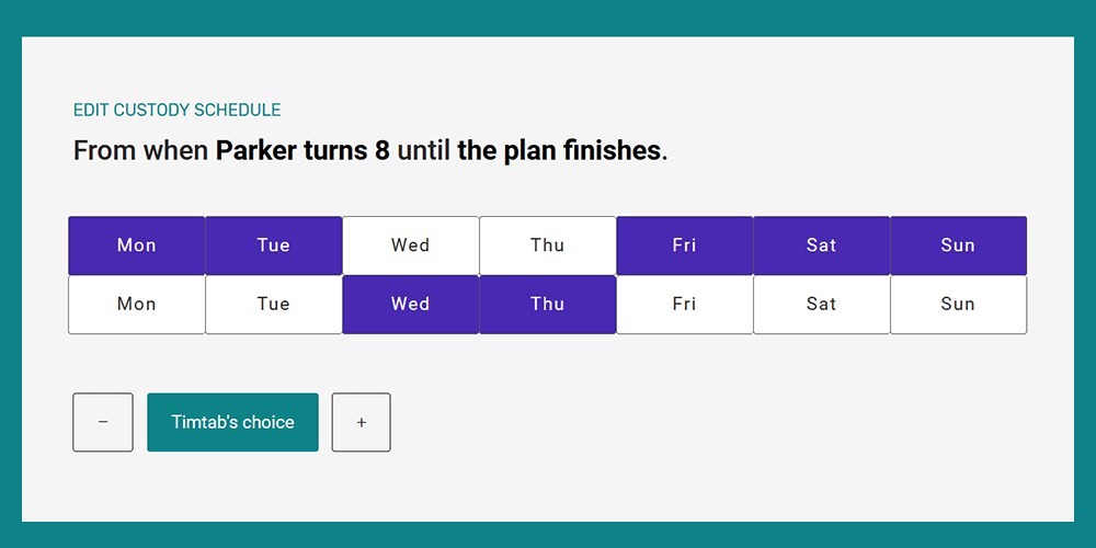Timtab Co-Parenting Schedules and Plans
